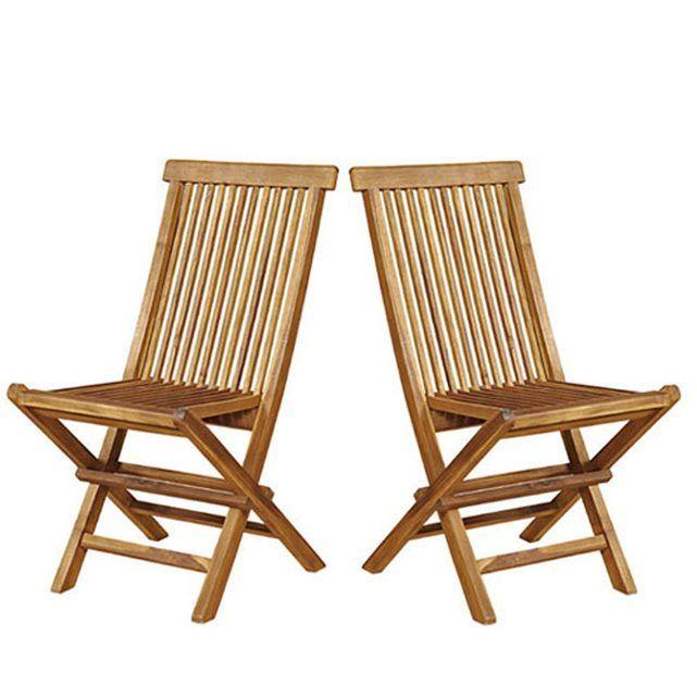 Lot de 2 chaises de jardin en bois de teck huilé pliantes BOIS DESSUS BOIS DESSOUS, 69,40 en soldes, les 2