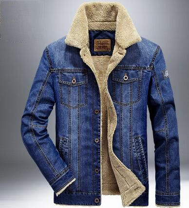 Men Jacket and Coats Denim Jacket Mens Jeans Jacket Thick Warm Outwear Cowboy