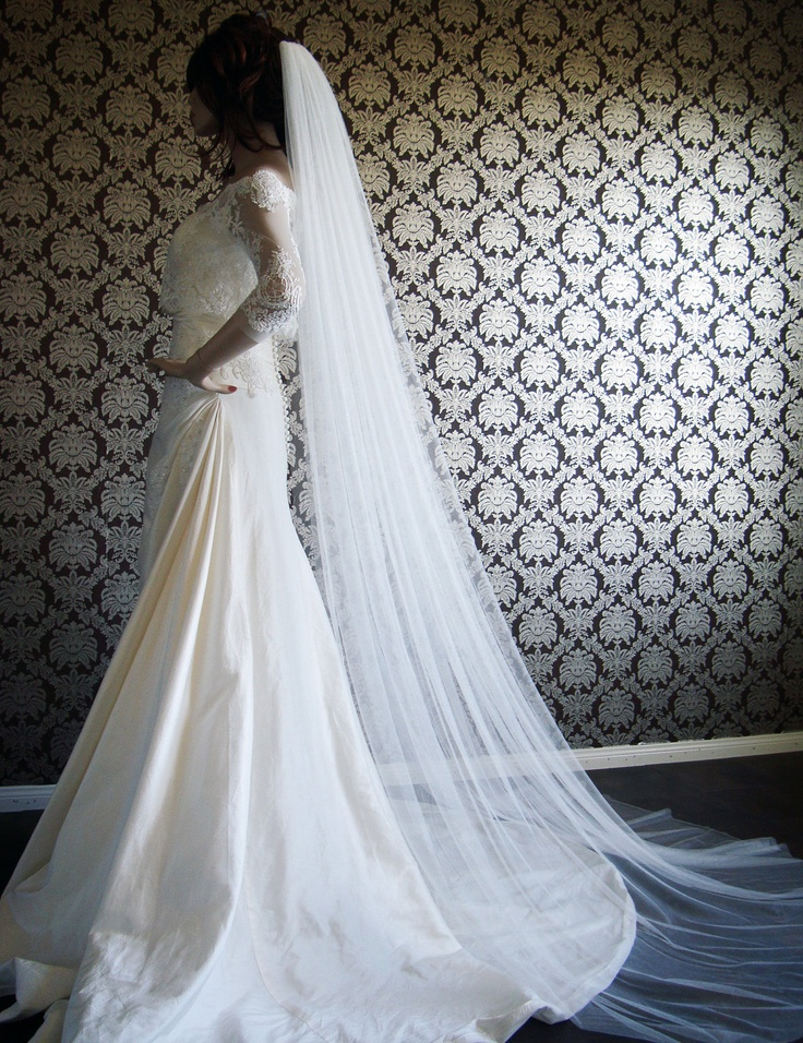 "Pure Silk Luxury Softest Silk Chapel Length Veil 145"" Wide Silk Tulle Veil by IHeartBride V-AS1919. $639.00, via Etsy."