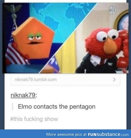 Elmo contacts the pentagon