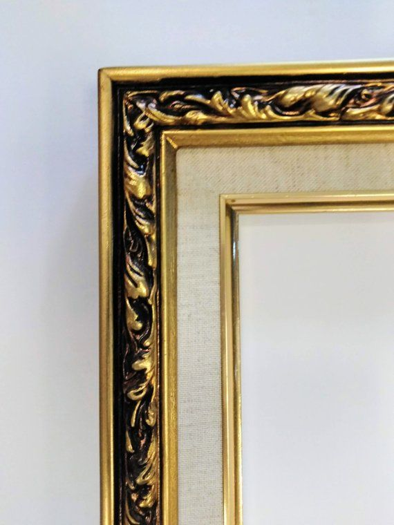 11 X 14 Gold Leaf Linen Liner Ornate Picture Frame Etsy Gold Photo Frames Ornate Picture Frames Frame