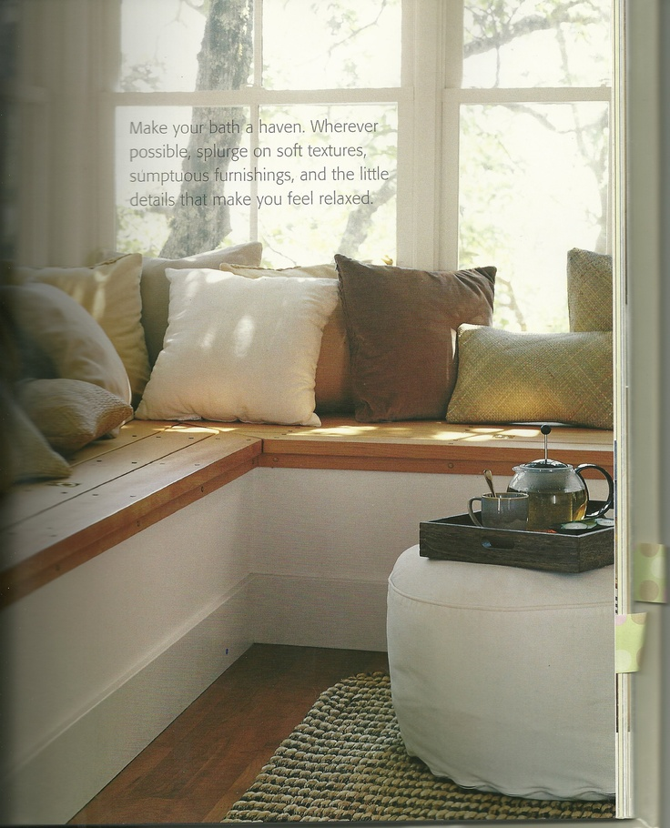 Maybe use leftover flooring for top of seat with white Window seat house