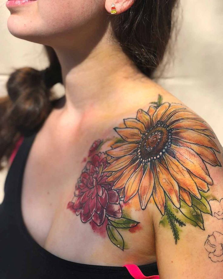 front shoulder tattoo flowers