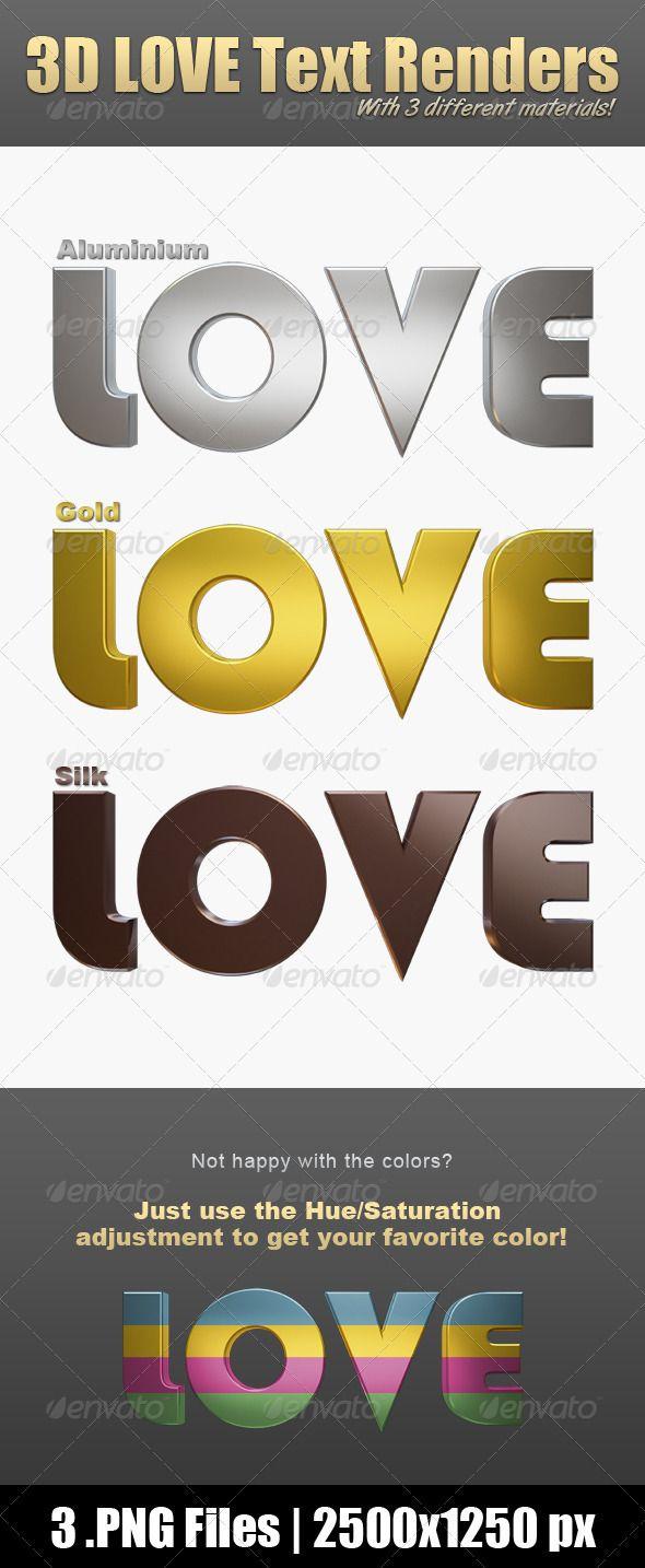 3D Love Text Renders $2.00