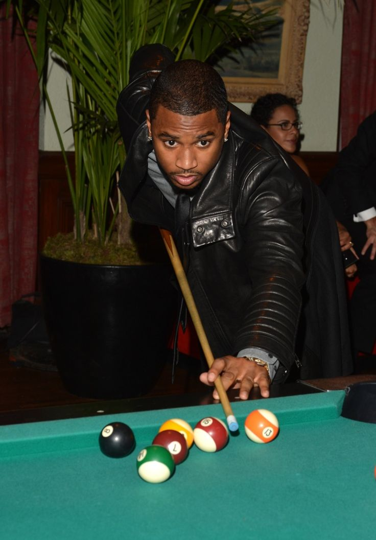 Moneyball! Trey Songz plays to win during a game of pool at the GQ Men of the Year Party on Nov. 12 in Los AngelesPools Table'S, Tremaine Aldon,  Billiard Table'S, Songz Plays, Years Parties, Pools Tables, Los Angels, Aldon Trey, Trey Songz