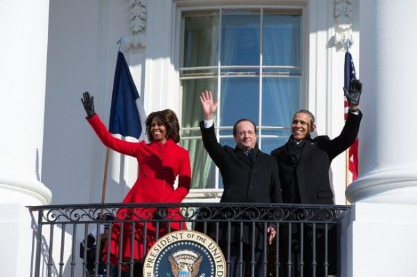 First Lady Michelle Obama in Red for the Arrival of French President Francois Hollande