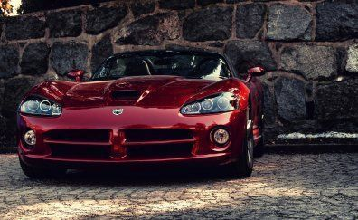 Dodge Viper, red sports car, front view #dodgeviperred