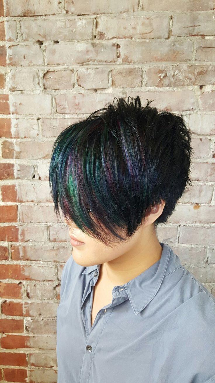 Oil slick hair teal hair purple hair blue hair pink hair short hair cut and color by Maura D'arcy