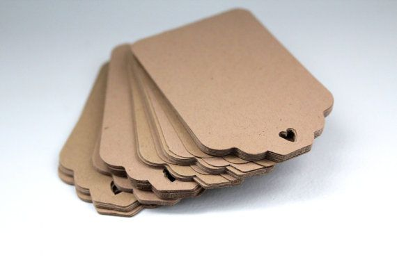 150pcs Kraft paper tags,cardstock paper tags,hole punch hearts,scallop tags brown,rustic wedding tags,wedding favor tags