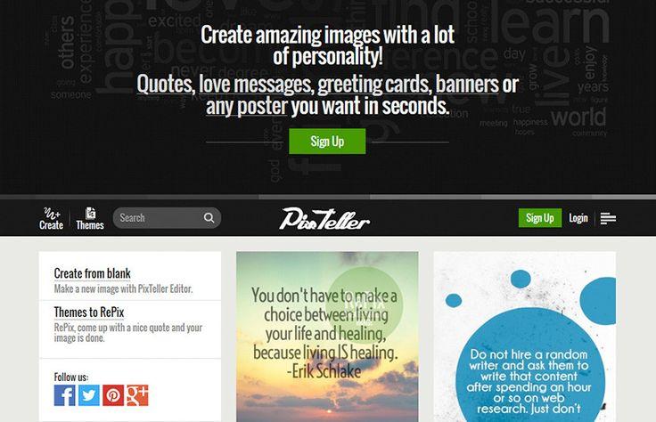 Pixteller, créer des affiches et des posters en ligne.