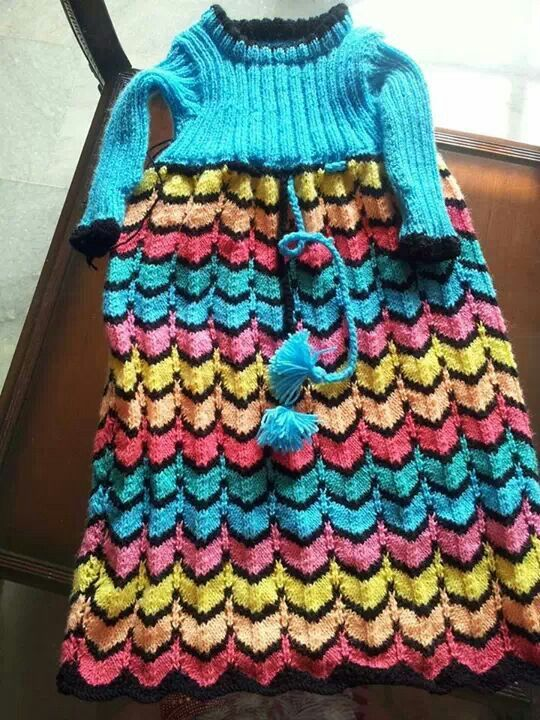 Colorful knitted gown