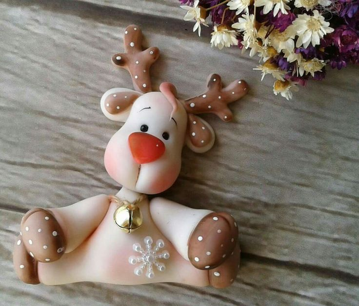 christmas  reindeer, polymer clay                                                                                                                                                                        (Diy Ornaments Clay)