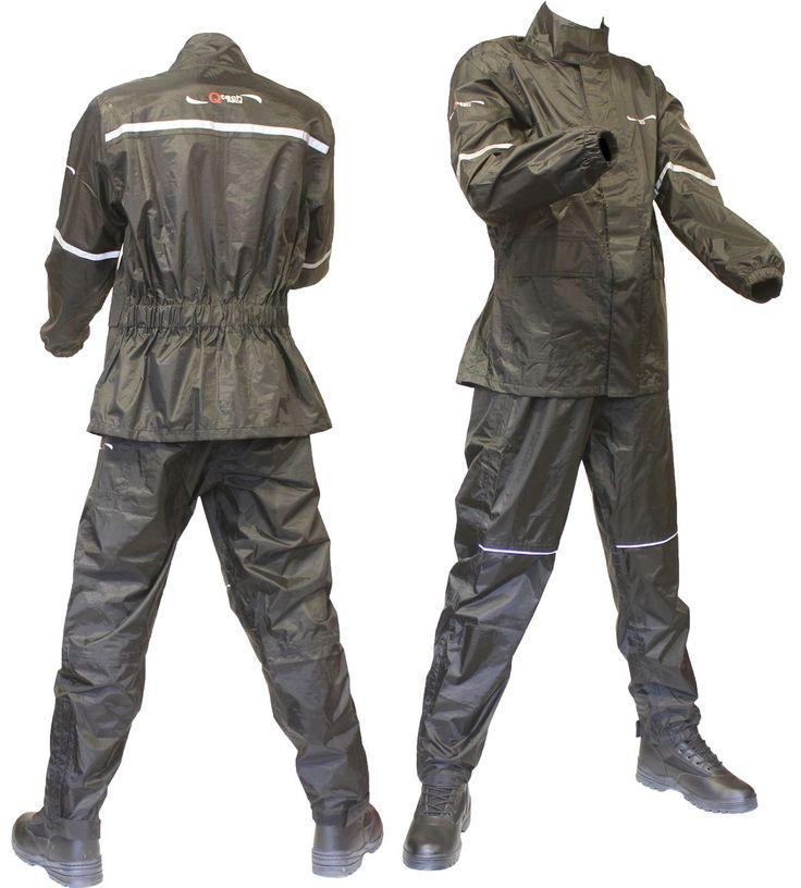 MOTORCYCLE Motorbike Jacket & Trousers WATERPROOF Over SUIT RAIN Set Two 2 Piece | eBay