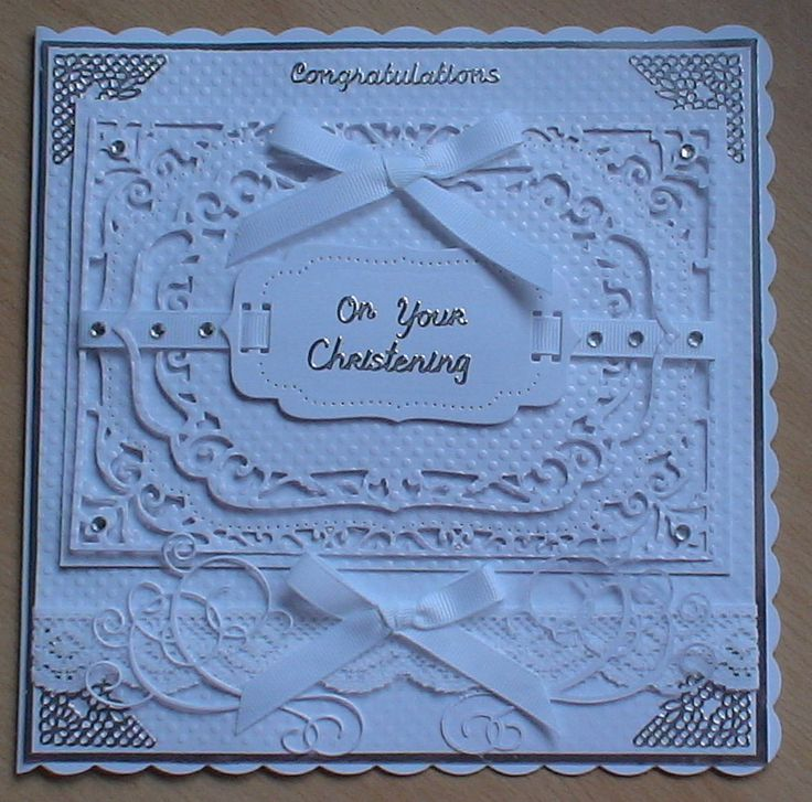 #spellbinders #crafterscompanion I had to get my thinking cap on for this one, commissioned card for a christening of two boys and a girl of varying ages, I kept it white and silver using centura pearl card, my spellbinder dies for layering, white satin ribbon and adhesive stones to decorate.