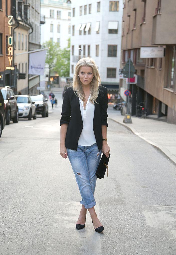 17 Best images about Boyfriend Jeans on Pinterest | Black blazers Zara jeans and Blazers
