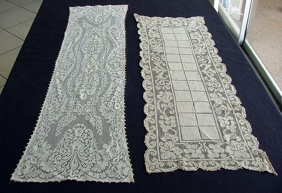 2 Vintage Lace Table Runners c.1930 by chalcroft on Etsy, $14.95