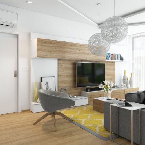 interiér nadstandardního bytu s krásným výhledem návrh interiéru vstupní chodby, detského pokoj, pokoje pro hosty, koupelny pro děti, kuchyně s obývacím pokojem a jídelní částí, šatníku, koupelny rodičů a ložnice v interiérech je použita dřevěná dubová podlaha, stěny jsou převážně bílé v kombinací s doplňkovou barvou podle konkrétní místnosti nábytek je navržen na míru a z kvalitních materiálů