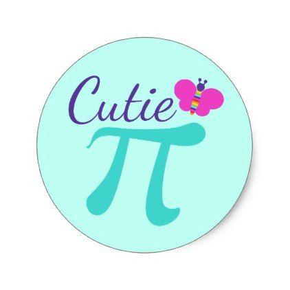 Cutie Pi Symbol Math Pun Classic Round Sticker - craft supplies diy custom design supply special