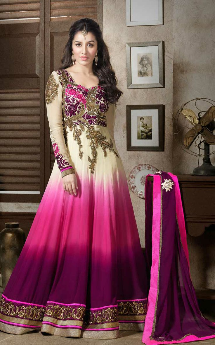 CREAM, PINK & PURPLE GEORGETTE ANARKALI SALWAR KAMEEZ - ROU 1101