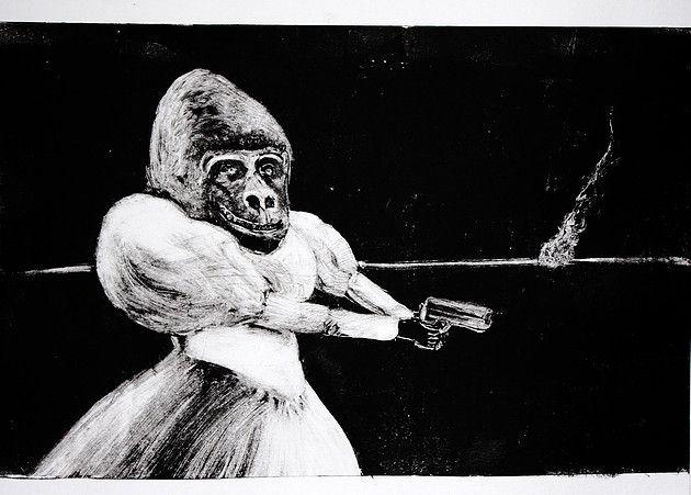 Noir #1 by Cristina Gardumi, monotype on paper, 2016