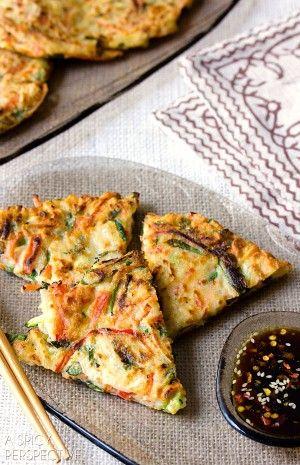 Crispy Korean Pancake Recipe: Pajeon ; hash brown ; zucchini ; bell pepper ; Asian ; breakfast