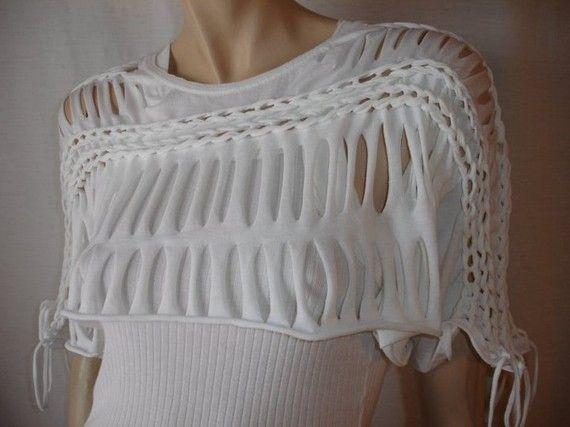 рукодельные шарфы из футболок 0