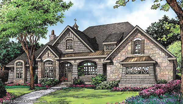Plan of the Week: The Markham 1299! Country kitchen, walk-in pantry, single dining room, huge master bathroom, 3 car garage, massive bonus room. Read more on our #House #Plans #Blog http://houseplansblog.dongardner.com/plan-week-markham-1299/