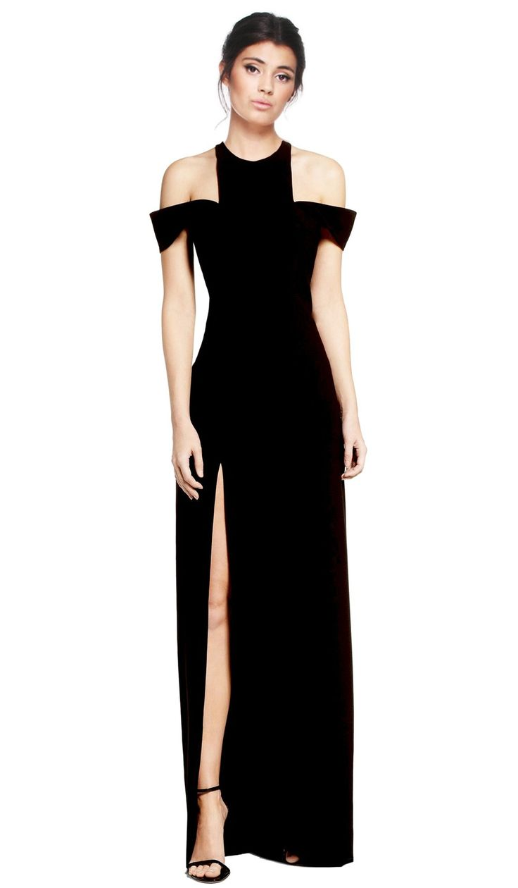 Buy this gorgeous cold shoulder black gown from Halston Heritage for an  elegant yet feminine touch for your evening event.  Size and Fit:  Size 6UK Bust: 85cm Waist: 65cm Hips: 91cm Size 8 UK Bust: 88cm Waist: 67cm Hips: 94cm Size 10 UK Bust: 90cm Waist: 70cm Hips: 97cm Size 12 UK Bust: 93c