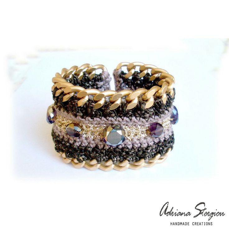 Crochet & chain bracelet www.jewelmyday.gr www.jewelmyday.eu #handmade #accessories #fashion #jewelry #bracelet