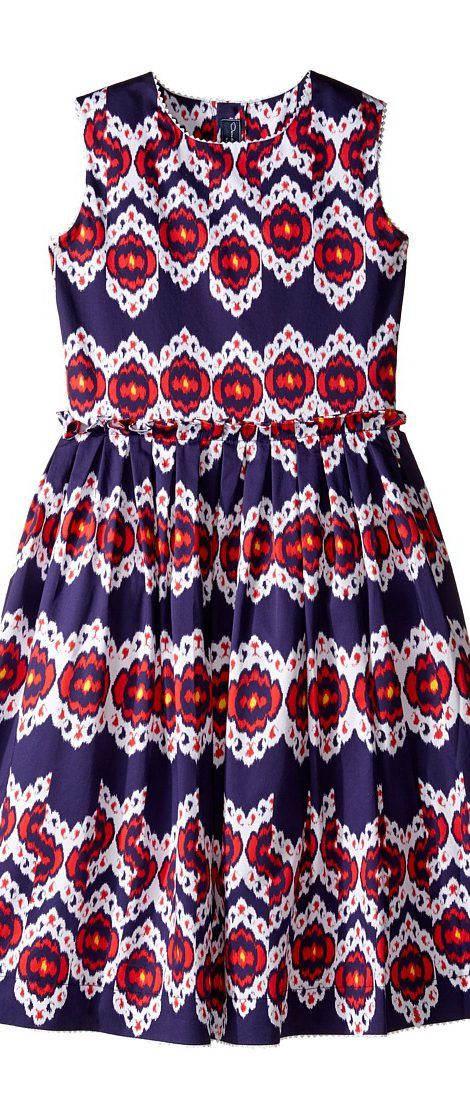 Oscar de la Renta Childrenswear Ikat Cotton Gathered Skirt Party Dress (Toddler/Little Kids/Big Kids) (Navy/Cherry) Girl's Dress - Oscar de la Renta Childrenswear, Ikat Cotton Gathered Skirt Party Dress (Toddler/Little Kids/Big Kids), S172C641-415, Apparel Top Dress, Dress, Top, Apparel, Clothes Clothing, Gift - Outfit Ideas And Street Style 2017