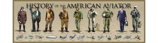 History of the American Aviator Prints: Celebrate America's proud aviation heritage from the early pioneering days of the 1900's to today's modern pilot. The time-line of 13 iconic American made and operated aircraft are represented from the civilian and military field.