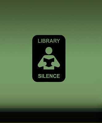 LIBRARY SIGN KEEP SOLENCE SYMBOL WALL VINYL STICKER DECALS ART MURAL D1341