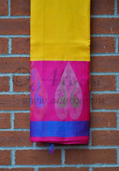 Yellow Plain Kuppadam Saree with broad Pink/Blue Zari Patterned Border - Aliveni  - 1