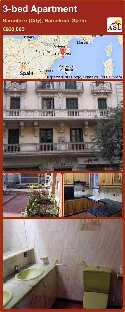 3-bed Apartment in Barcelona (City), Barcelona, Spain ►€280,000 #PropertyForSaleInSpain