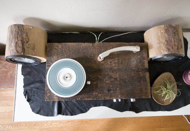 Rustic Wooden Record Player