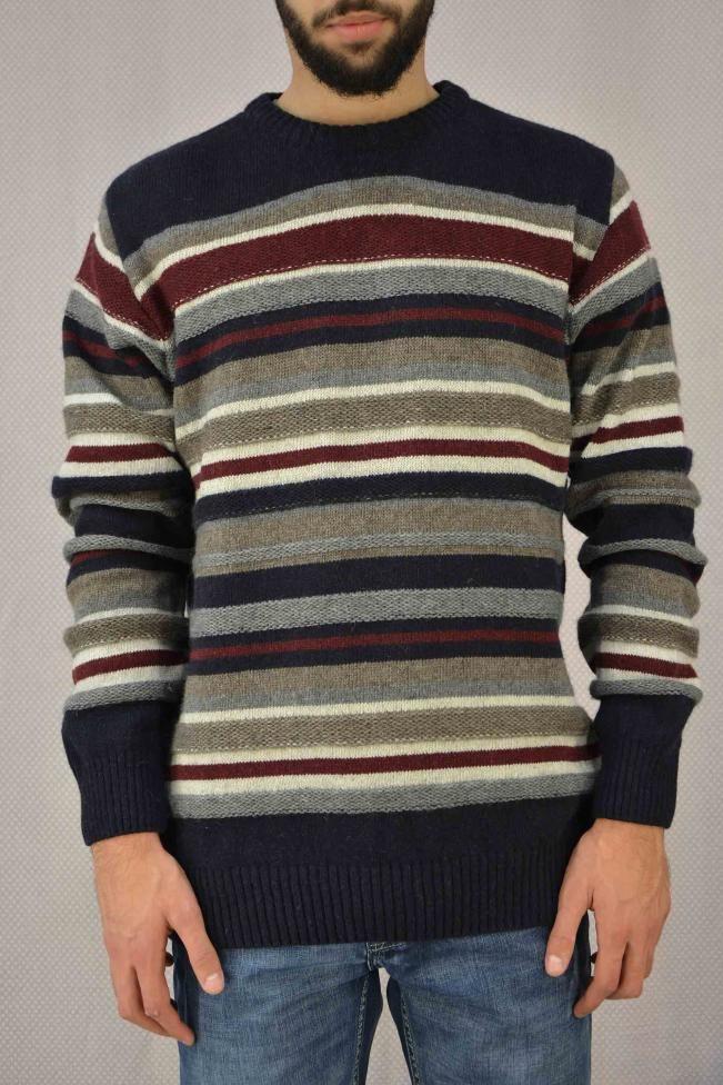 Ανδρικό πουλόβερ ριγέ  PLEK-2716 Πλεκτά - Πλεκτά και ζακέτες - Άνδρας
