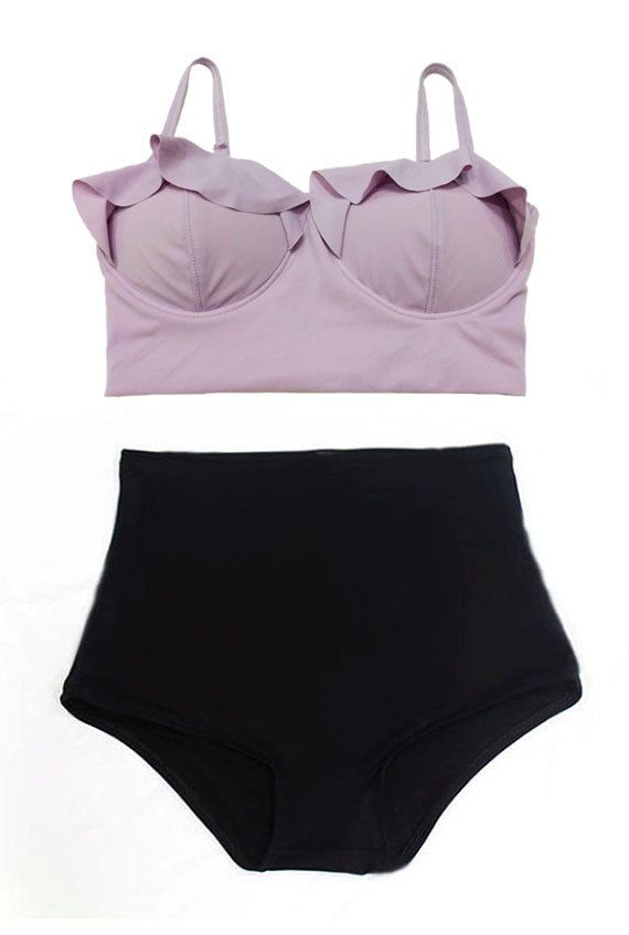 Lavender Purple Top and Black Highwaist Highwaisted by venderstore