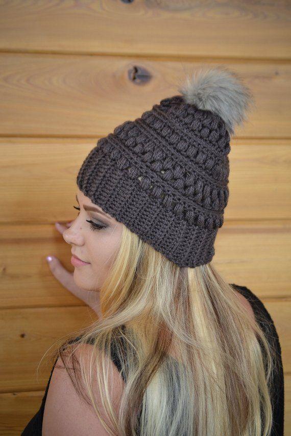 Winter Crochet Hat Women/'s Crochet Beanie Fur Pom Pom Snow Drop Beanie Handmade Hat Winter Beanie Crochet Hat