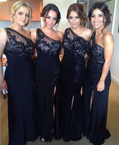 One Shoulder Bridesmaid Gown,Pretty Prom Dresses,Lace Prom Gown,Navy Blue Bridesmaid Dress,Beaded Bridesmaid Dresses,Tulle Bridesmaid Gowns,Slit Bridesmaid Dresses