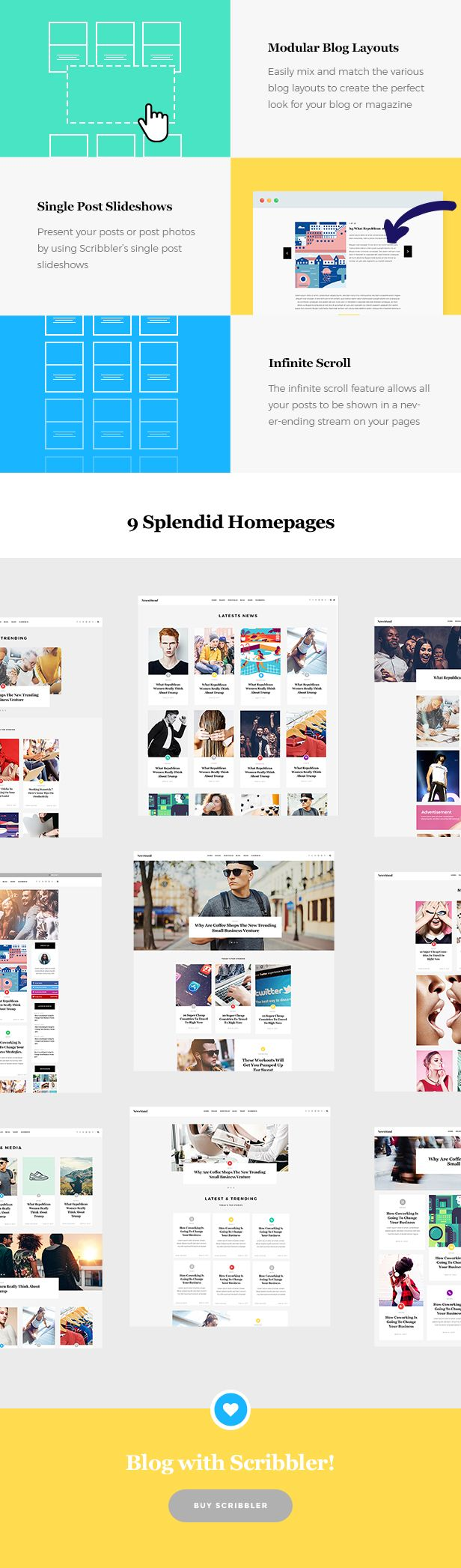 Theme Features   Powerful Admin Interface Highly Customizable  No coding knowledge required One-Click Demo Content Import 9 distinct homepages Large collection of pages and layouts Large collect...