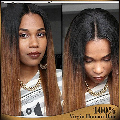 b439ba93e Human Hair Straight full lace wig 100% Real Brazilian Hair Ombre Black  Roots 1B 30 Color 130% Density Wig For Black Women (16″, lace frontal wig)  – Cute ...