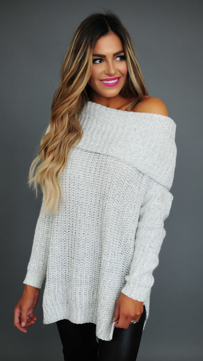 Off White Two Tone Fold Over Sweater - Dottie Couture Boutique