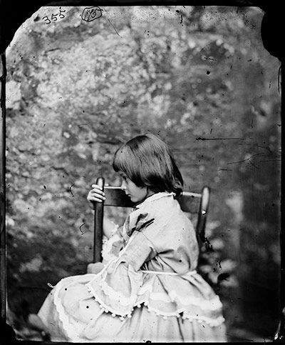Alice Pleasance Liddell, summer 1858, by Charles Dodgson (aka Lewis Carroll)  ::      The character of Alice was based on Alice Pleasance Liddell, daughter of the dean of Christ Church, Oxford, whom Dodgson met when he was a lecturer there. Dodgson took a number of photographs of the Liddell sisters, including the real Alice, from the age of four to the last at the age of 18 – this is one of the most famous