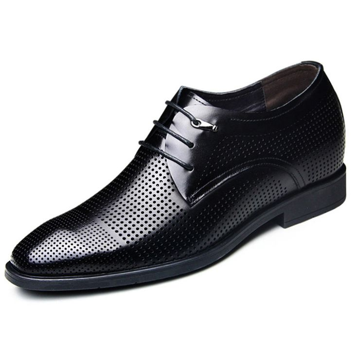 Black calf leather dress sandals for men 6.5cm / 2.56inch heel height formal shoes