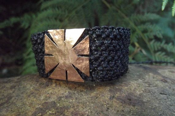 Check out this item in my Etsy shop https://www.etsy.com/au/listing/523872380/handmade-copper-black-macrame-bracelet