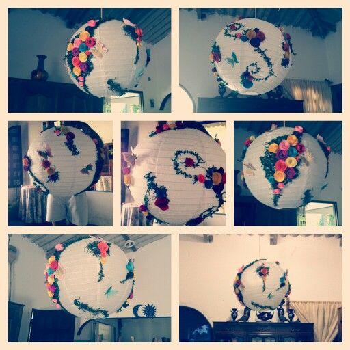 Lampara de papel decorada #globo #chino #flores #colores