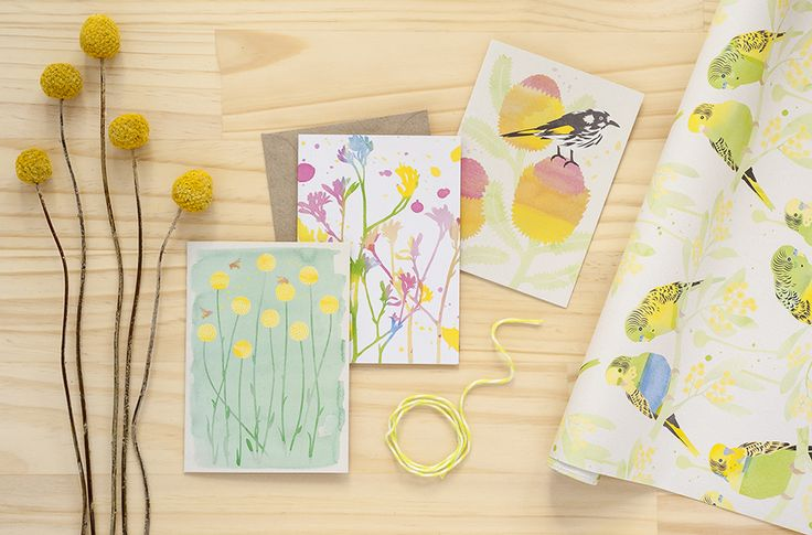 Dreamscapes watercolour cards and wrapping paper by Earth Greetings.  Made in Australia from 100% post-consumer waste and Accredited Carbon Neutral.