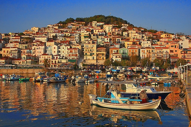 Fishing village of Plomari in Lesvos, Greece