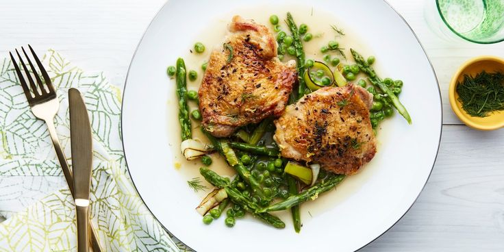 Braised Chicken With Asparagus, Peas, and Melted Leeks recipe | Epicurious.com