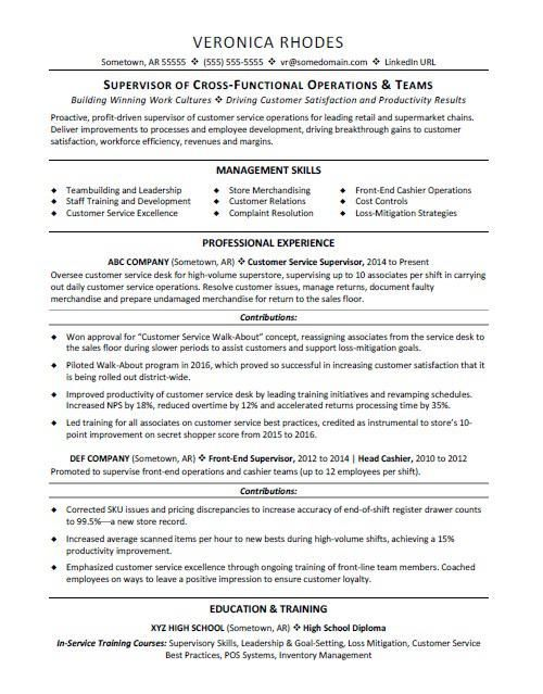 Supervisor resume sample resume examples Pinterest Resume